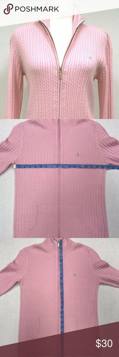 "Ralph Lauren Cable Knit Zip Front Pink Sweater You are purchasing a pink front zip up Ralph Lauren cable knit sweater in a size medium.  The measurements are pictured in the listing please review all the pictures.  Armpit to armpit = 17""  Back collar to waistline = 23""  Sleeve = 18""  All items are stored and shipped from a smoke free/pet free environment and are free of smoke odor. Ralph Lauren Sweaters Cardigans"