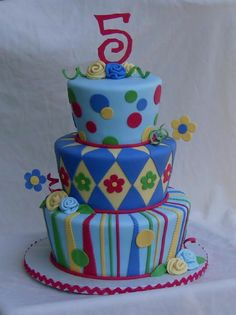 primary colored whimsy - This cake wasn't doing it for me, but it kind of came together at the end. I'm not a big fan of primary colors. I wanted to do hearts to make it more girly, but the mom insisted on dots.... oh well....