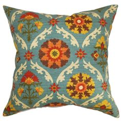 This visually stimulating throw pillow is a brilliant option to reinvent your decor style affordably. This square pillow features a tribal-inspired floral patterns which incorporates various colors like yellow, orange, blue, white and brown.
