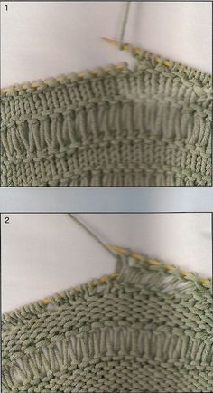 An elongated point can be made from the first pass and, repeating over all . Knitting Paterns, Knitting Stitches, Knitting Designs, Knit Patterns, Knitting Projects, Baby Knitting, Stitch Patterns, Knit Basket, Knitting For Beginners