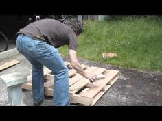 A video of myself dismantling a pallet.  I do not use a pry bar because that splits the flat pieces of wood (probably pine).  I made a book shelf from this, viewable at my flickr feed:    http://www.flickr.com/photos/alejandroerickson/5864720328/in/photostream    I've also made a blog post about it at http://alejandroerickson.com/joomla/personal-pro...