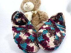 Crochet Granny Square Slippers Size Medium  by crochetedbycharlene