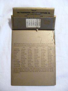 Parkersburg, WV - Coca-Cola Advertising Calendar Clip Board - 1953-1957.