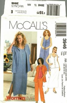 Here's one for a casual summer wardrobe, to be worked up in chambray or linen or even shantung. McCall's 3946 Pattern uncut 18W 20W 22W 24W Summer Dress Top Skirt Pants Skirt