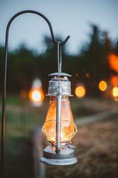 Lantern hung on sherpard hook - wedding decor in The Peach Orchard | Photography : marymargaretsmith.com | http://www.fabmood.com/a-cozy-fall-wedding-in-the-peach-orchard #peach #fallwedding