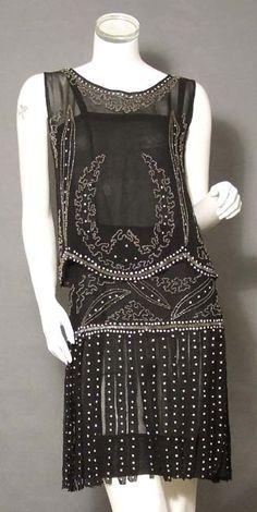1920 black chiffon, smoky glass and seed beads  - soft black