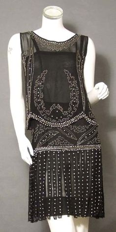 1920 black chiffon, smoky glass and seed beads  - soft black