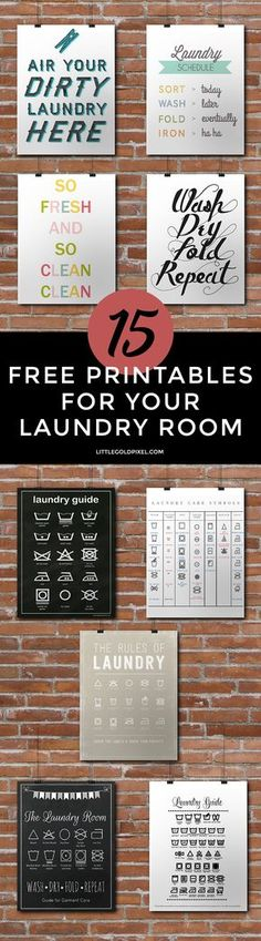 15 Laundry Room Free Printables • Little Gold Pixel • In which I dream of decorating my very own laundry room, with pretty @methodhome detegerent and ladder hangers and fun art. Oh, and a washer and dryer I DON'T have to insert coins into. #stylebymethod #CleverGirls