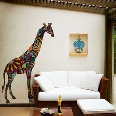 1 large giraffe wall sticker Ultra easy - just peel and stick No white edges - looks like it is painted on the wall