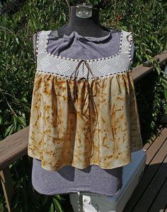 Vintage crochet yoke with rusty nails dyed silk scarf,   http://www.etsy.com/shop/confettijulie