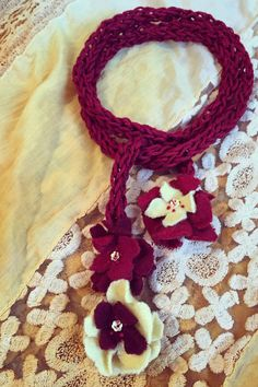 Hand knit Floral Necklace by GabrielleEloise on Etsy