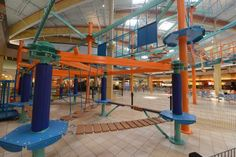 The new 'SkyTrail' adventure ropes course in the food court at the Pittsburgh Mills Mall in Frazer on Tuesday, March 17, 2015. — Jason Bridge  |  Trib Total Media