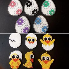 Hama Beads Design, Hama Beads Patterns, Beading Patterns, Perler Bead Mario, Diy Perler Beads, Pearler Beads, Pixel Beads, Fuse Beads, Easter Projects