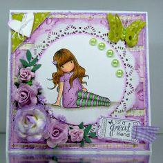 OOAK Gorjuss Sitting Girl Handmade Greeting Card - Folksy