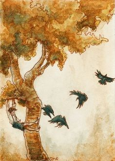 And the crows; art print, etsy