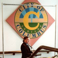 """Robert Indiana at unveiling of """"C"""" painting in Columbus, Indiana Columbus Indiana, City Of Columbus, Architects, Connection, Artists, Painting, Paintings, Draw, Artist"""