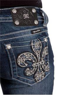 Miss Me Jeans Leathered Fleur De Lis Bootcut
