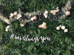 Green Foliage wall and Wedding Backdrop hire. Flower garlands and signs for backdrops. Wedding, event and Baby Shower inspiration.