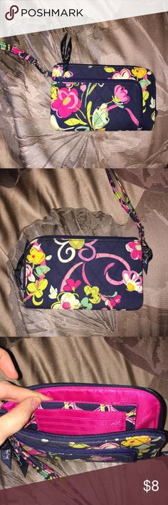 "Vera Bradley Wallet Used Vera Bradley wallet in the pattern ""Ribbons"". There is space for cash, credit cards, and ID! The wallet also has a wristlet for on the go. Vera Bradley Bags Wallets"