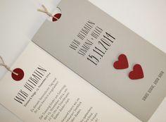 Hochzeitskarte LOFTY grau mit roten Herzen