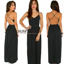 2015 Latest Designs Summer Elegance Women's Brand Fashion Sexy Black Spaghetti Strap Backless Classy Maxi Dress(China (Mainland))