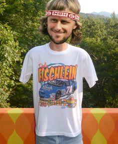 vintage 90s t-shirt NASCAR dale fischlein neon chevy by skippyhaha