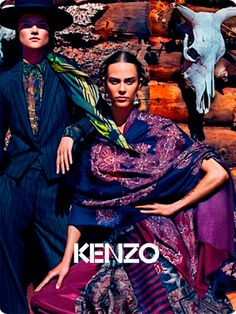 Wild West – Joined by male model Clément Chabernaud, Aymeline Valade and Kasia Struss front Kenzo's fall 2011 campaign photographed by Mario Sorrenti. Ad Fashion, Ethnic Fashion, Editorial Fashion, Fashion Models, Fashion Brands, Ethnic Chic, Folk Fashion, Fashion Room, Fashion Designers