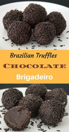 Truffles - Chocolate Brigadeiro Brazilian - Chocolate Simple rich chocolate truffles that are very easy to make and even easier to enjoy!Brazilian - Chocolate Simple rich chocolate truffles that are very easy to make and even easier to enjoy! Chocolate Chip Cookies, Chocolate Sprinkles, Chocolate Desserts, Chocolate Chocolate, Easy Chocolate Truffles, Chocolate Truffle Recipe, Chocolate Roulade, Chocolate Smoothies, Chocolate Making