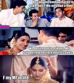 """An Accurate And Honest Summary Of """"Hum Saath Saath Hain"""" Desi Humor, Desi Memes, Bollywood Funny, Bollywood Celebrities, Very Funny Jokes, Funny Memes, Hum Saath Saath Hain, So Laughable, Thank God"""