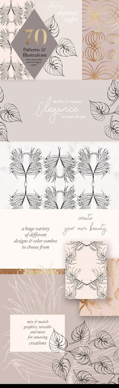 Autumn Gold Patterns & Illustrations by Laras Wonderland on @creativemarket