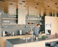 Gray basalt was used for the kitchen island and backsplash.