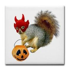 Trick or Treat Squirrel Tile Coaster