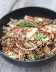 Recipe for quinoa-mushroom salad from chef Koren Grieveson of Avec restaurant in Chicago. Chef Recipes, Vegetarian Recipes, Healthy Recipes, Mushroom Salad, Mushroom Quinoa, Quinoa Salad Recipes, Tasting Table, Restaurant, Meatless Monday