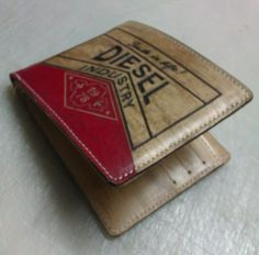 Hand made wood effect leather wallet..for Diesel