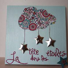 Tableau nuage et étoiles pour chambre d'enfant, personnalisation possible avec le prénom de bébé