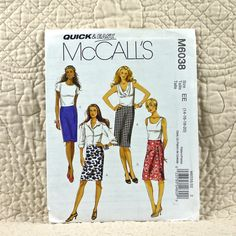 Skirt, McCalls M6038 Pattern for Women, Fitted, Straight, Back Zipper, Slit, Pleat, 2010 Uncut, Size 14 16 18 20, 2-oz by DartingDogPatterns on Etsy