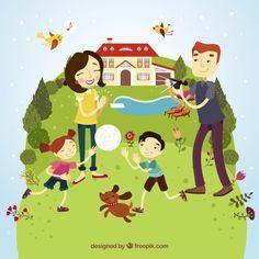Happy family avoir du plaisir Vecteur gratuit