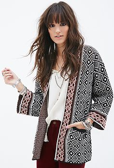 Mixed Tribal Pattern Cardigan | FOREVER21 - 2000119598 SIZE SMALL