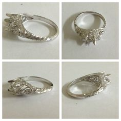 Whitehouse Brothers #8292 filigree engagement ring with scroll detailing in Platinum
