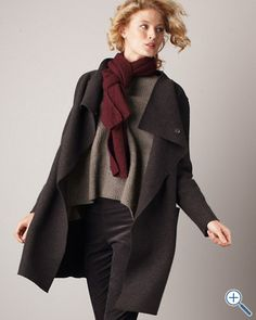 Love this boiled wool coat from EF!  The whole outfit is stunning...