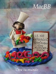 *PLOYMER CLAY ~ Cocinero vegano /vegan Cheff by Crea tu mundo, via Flickr