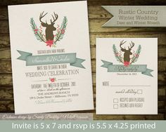 Rustic Winter Wedding Invitations Rustic Deer by NotedOccasions, $40.00