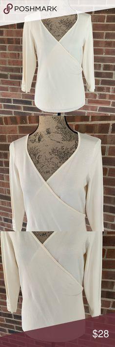 a8b2af0337f NWT Ann Taylor silk blend cream wrap top NWT Ann Taylor silk blend cream  wrap top