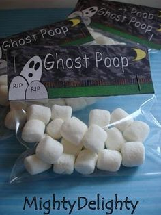 Print out your own ghost poop template!! Great party treats for Halloween!