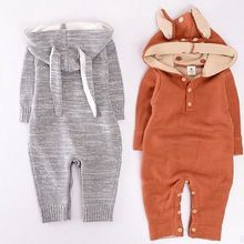 KIKIKIDS Baby Boys& Girls Rabbit & Deer Pattern BodySuit with Long Sleeve & Hat, Kids Long Sleeve Jumpsuit,  price only for 1pcs(China (Mainland))