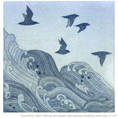 Emma Nishimura  etching, japanese woodblock
