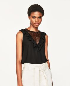 FRILLED BLOUSE WITH CONTRASTING LACE - Available in more colours