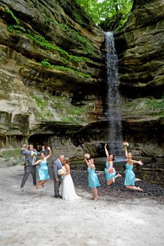 Jumping for joy at a Starved Rock Wedding. Photo taken at St. Louis Canyon by Kathy Casstevens.