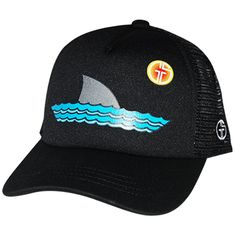 6d05d5b081b Infant Trucker Hats · Sharky Black Black - 5 panel trucker hat - Snapback  for adjustable fit Size MINI