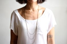 Long Triple Layered Chain Necklace - Antiqued Brass Chain by Pauline Stanely (Shoparebird) Etsy
